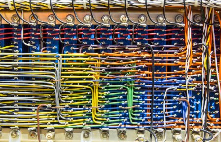 Photo for Retro analog electronic control box with lots of colorful wires - Royalty Free Image