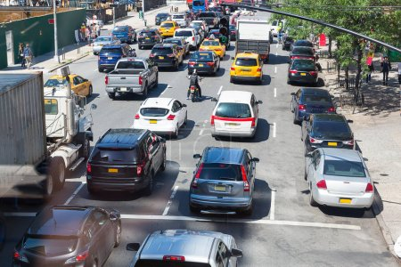 Photo for Cars in traffic jam on city street in USA - Royalty Free Image