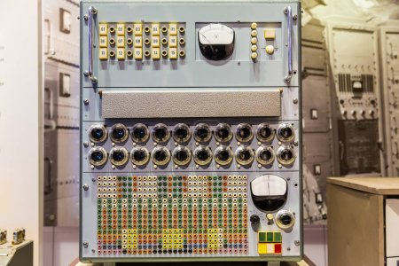 Photo for Retro control panel with switches and buttons, computing technology museum - Royalty Free Image