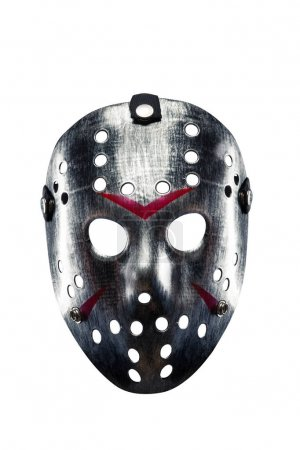 Metal mask with bloody strips