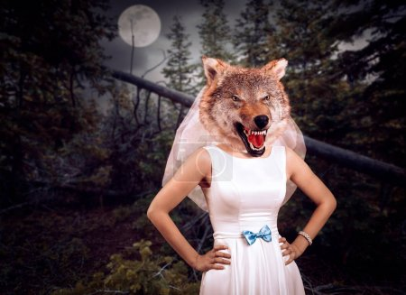 Bride with wolf head