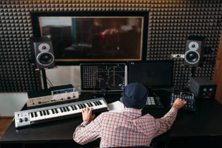 Sound producer in music studio