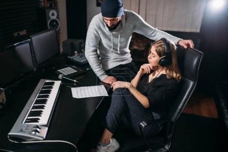 sound producer with female singer