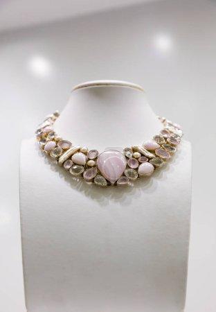 Gemstone necklace in shop