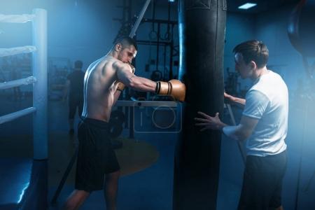 Photo pour Jeune boxeur musculaire dans les gants de formation avec souffre-douleur dans la salle de gym. Entraînement de boxe - image libre de droit