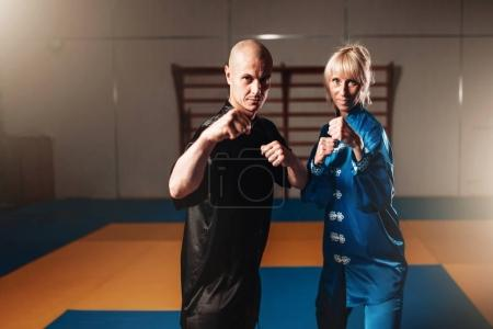 Photo for Male and female wushu fighters posing indoor, martial arts culture - Royalty Free Image