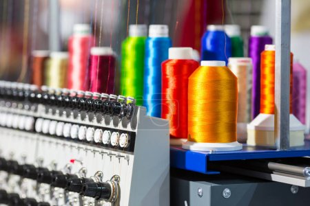 Spools of threads on spinning machine