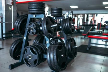Photo for Weights for bar, sport equipment in gym, bodybuilding concept - Royalty Free Image