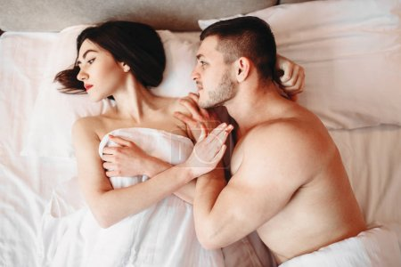 lovers having problems in bed, failure sex, no sexual desire, impotence, anxiety or depression