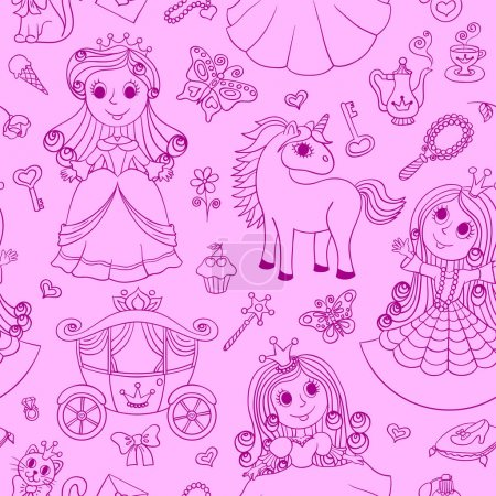 Seamless pink pattern with cute little princess