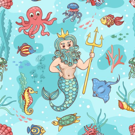 Photo pour Modèle sans couture avec Neptune. Vecteur enfants arrière-plan . - image libre de droit