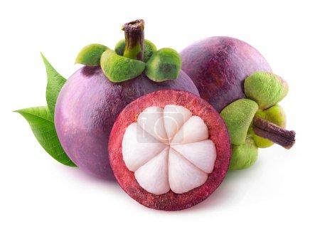 Foto de Mangostanes aislados. Dos frutas enteras y uno medio aislado sobre fondo blanco con trazado de recorte - Imagen libre de derechos