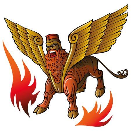 Illustration pour Déité mythique assyrienne Shedu, taureau ailé à tête humaine, bannissant les mauvais esprits, illustration vectorielle - image libre de droit