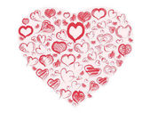 the red doodle hearts background