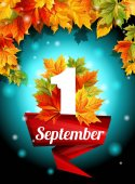 Quality design September 1 web design decoration holiday template set Autumn leaves adorn the poster Vector illustration