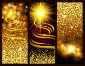 Set of bright gold banners holidays new year Christmas Gold glitter glow lens effects Design card Vector illustration