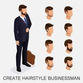 Trendy isometric set 11 qualitative study a set of men's hairstyles hipster style Fashion Styling beard mustache The style of today's young businessman Vector illustration