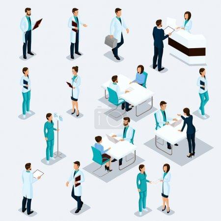 Illustration pour Set Isometric Doctors Hospital Staff Nurse Chirurgiens 3D et patients. Illustration vectorielle de l'équipe isolée du Médecin Hôpital . - image libre de droit