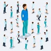 Módní izometrické lidí. Zdravotnický personál nemocnice, lékař, chirurg. Lidé v nárysu víz, stoje na světlém pozadí, samostatný