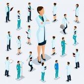 Módní izometrické lidí. Zdravotnický personál, nemocnice, lékaře, zdravotní sestry, chirurg. Lidé v nárysu víz, stoje izolované na světlém pozadí. 2