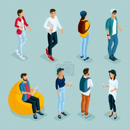Trendy isometric young creative people, 1 set in s...
