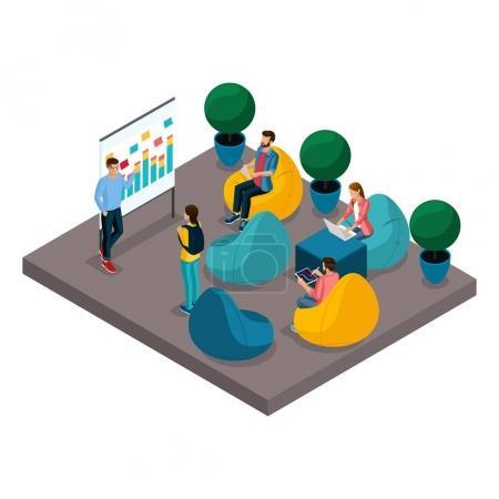 Illustration pour Concept isométrique de centre de coworking. Des personnes formées en 3D, des entraîneurs au tableau noir, des fauteuils confortables dans l'espace de bureau ouvert. Des gens créatifs, des pigistes travaillent en arrière-plan isolé . - image libre de droit