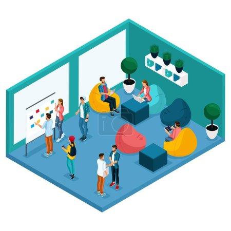Illustration pour Tendance Isometric personnes et gadgets, salle de coworking centre, salle de détente et de discussion, poire krasla douce, environnement de travail pigistes communiquer, artistes, programmeurs sont isolés . - image libre de droit