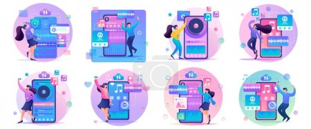 Photo for Large Set 2D Flat concepts Young people, teenagers listen and dance to their favorite music. For Landing page concepts and web design. - Royalty Free Image