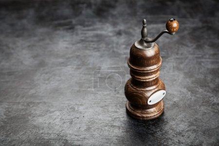 Photo for Wooden pepper grinder on dark background - Royalty Free Image