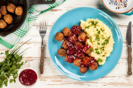 Meatballs with lingonberry jam and mashed potatoes...