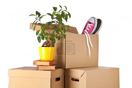 Photo for Cardboard boxes isolated on white background - Royalty Free Image