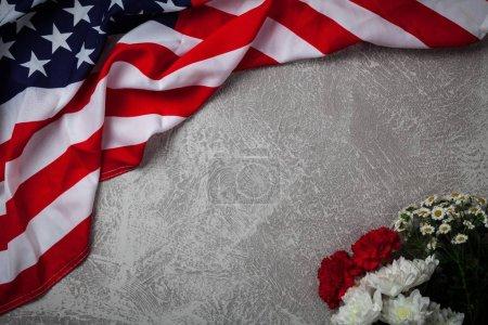 Bandera de EE.UU. sobre fondo gris
