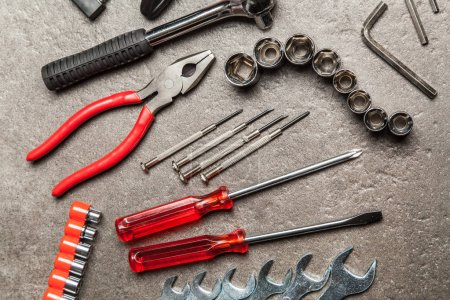 Photo for DIY Tools set with different types of wrenches, hammer and pliers - Royalty Free Image