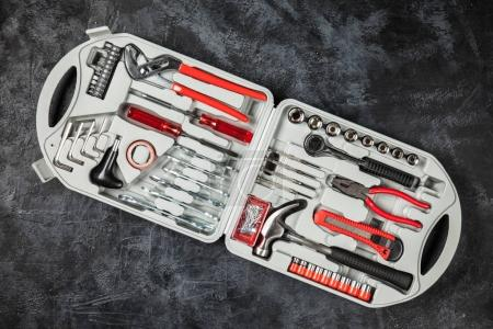 Photo for DIY Tools set box with different types of wrenches, hammer and pliers - Royalty Free Image