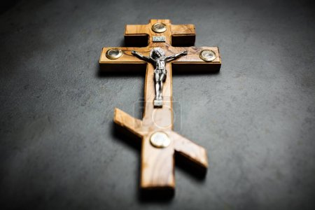 Photo for Crucifixion of Jesus made of olive wood - Royalty Free Image