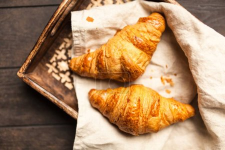 Photo for Fresh crispy French butter croissants - Royalty Free Image