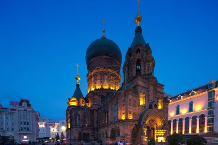 famous Harbin Sophia cathedral at night