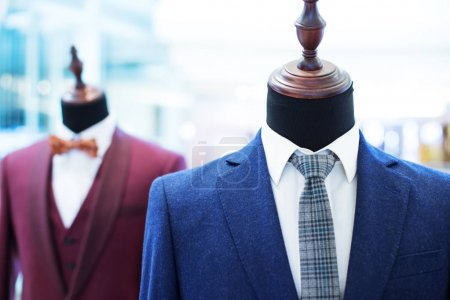 businessman suits on models in shopping mall