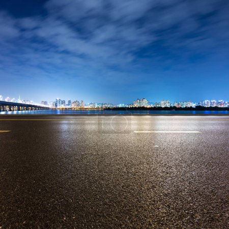 Photo for Night scene of Seoul from empty road near river - Royalty Free Image
