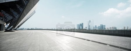 Photo for Empty brick floor with cityscape of modern city - Royalty Free Image