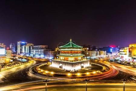 ancient building in Xi'an at night