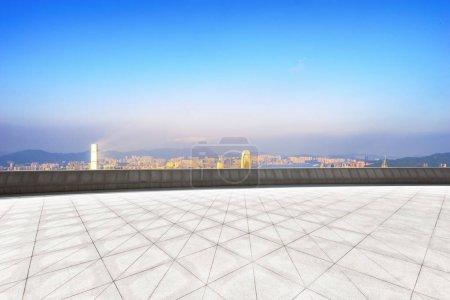 empty floor with cityscape of hongqing