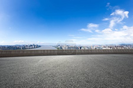 Cityscape of Hangzhou new city from empty asphalt ...