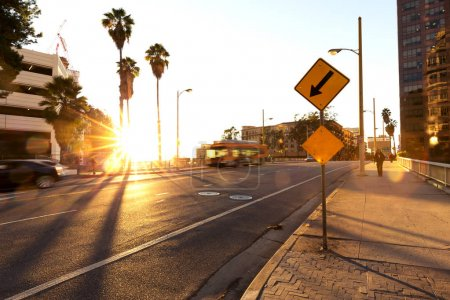 Photo for Traffic on road in midtown of modern city - Royalty Free Image