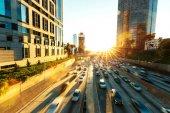 traffic on road in modern city