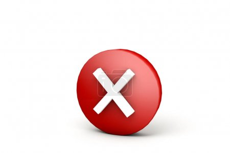 red ball with white wrong mark