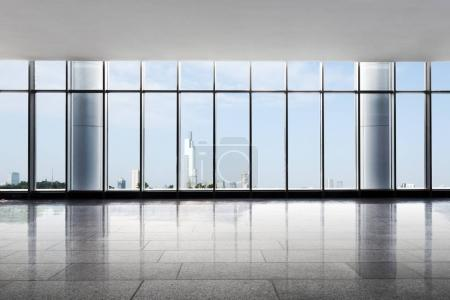 empty office with cityscape