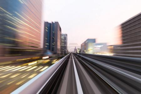 rail track and cityscape of tokyo