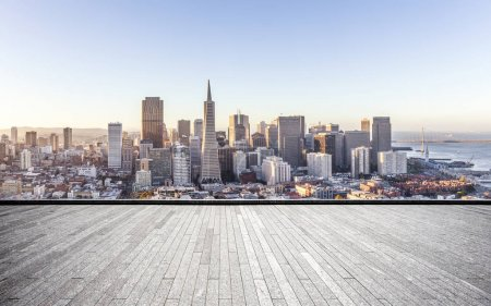 empty brick floor and cityscape of San Francisco in blue cloud sky