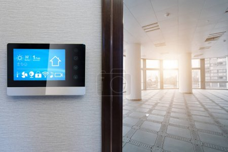 smart screen with smart home and modern office under sunbeam
